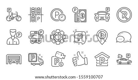 Parking line icons. Garage, Valet servant and Paid parking. Car transport park place linear icon set. Quality line set. Vector