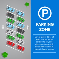 Parking lot, parking sign illustration. Car and transportation, auto park. Cars, top view. Isolated vector illustration.