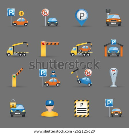 Parking lot signs and automatic access control gates and barriers pictograms collection flat abstract isolated vector illustration