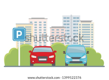 parking lot with two cars on