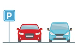 Parking lot with two cars on white background.. Flat style, vector illustration.