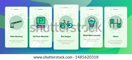 Parking Onboarding Mobile App Page Screen Vector. Parking Service Sign And GPS Mark, Garage With Car And Bicycle, Key And Park Place Linear Pictograms. Illustrations