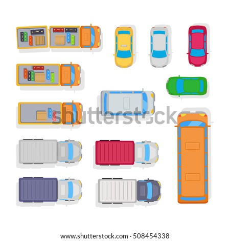 Parking space of cars, bus, baggage in trailer of lorry. Public and private transport. View from the top. For camp scheme or boy cutting-out. Vector illustration isolated in flat style design