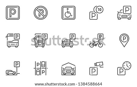 parking vector line icons set