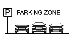 Parking zone sign with car icons. Parking concept in flat style. Vector illustration.