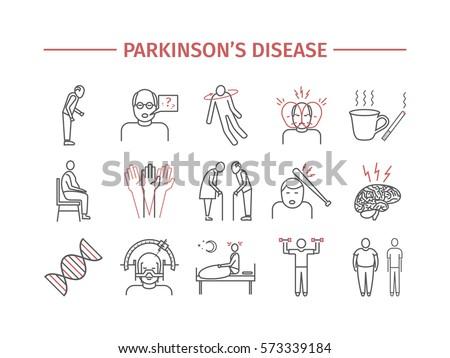 Parkinson's Disease. Symptoms, Treatment. Line icons set. Vector signs for web graphics.