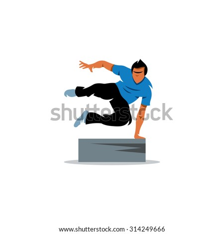 parkour athlete jumping free