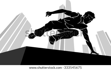 parkour jump silhouette with