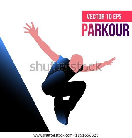 parkour jump silhouettes of