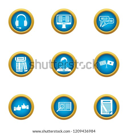 Parley icons set. Flat set of 9 parley vector icons for web isolated on white background