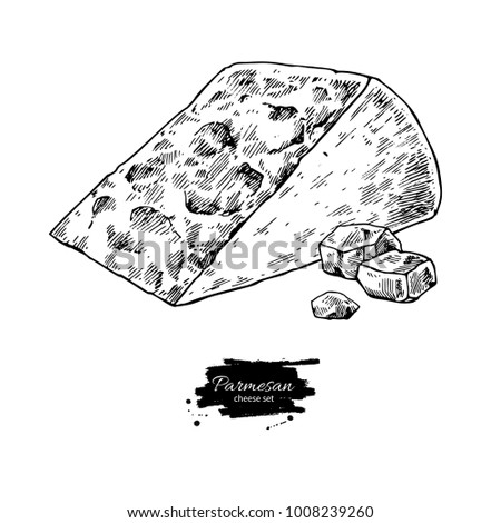 Parmesan cheese  drawing. Vector hand drawn food sketch. Engraved triangle slice and cube cut. Farm market product for label, poster, icon, packaging. Dairy vintage product