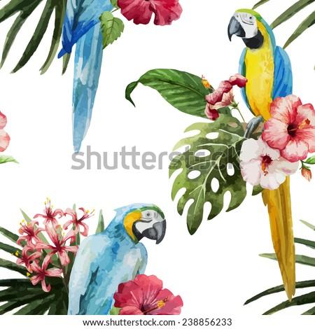 parrot  flowers  pattern