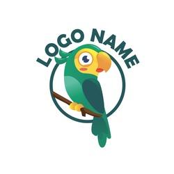 parrot logo, parakeet vector illustration, bird lovers logo