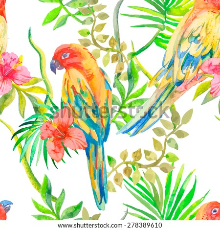 Parrot seamless pattern. Topical flower and leaves, hibiscus.  Exotic. Tropical plants: exotic flower hibiscus and leaves. Vector.