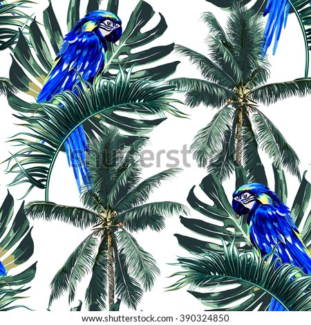 Parrots, exotic birds, palm trees, jungle leaves, palm leaf, beautiful seamless vector floral tropical pattern background