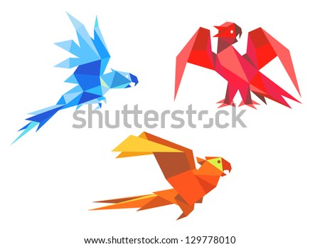 Parrots in origami paper style isolated on white background. Jpeg version also available in gallery
