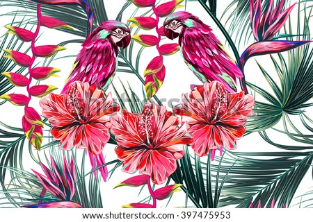Parrots, tropical flowers, palm leaves, hibiscus, bird of paradise flower, jungle, beautiful seamless vector floral summer pattern background