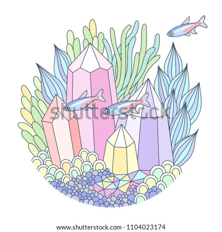 Part of fantasy underwater landscape with multicolor crystals, factastic plants and small fishes. Round emblem for aquarium, cartoon illustration isolated on white background
