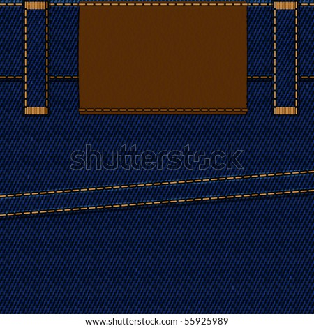 Part of jeans pants with empty label, vector illustration, EPS10