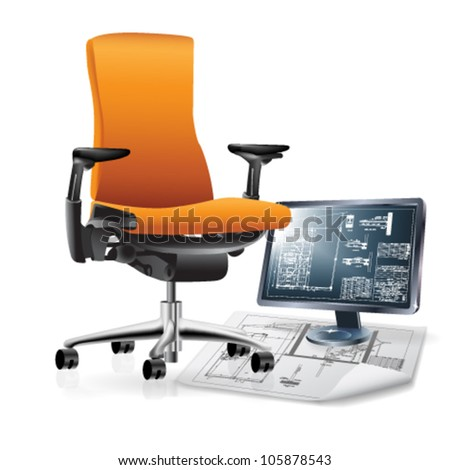 Part of office interior with a chair, monitor, and architectural drawings