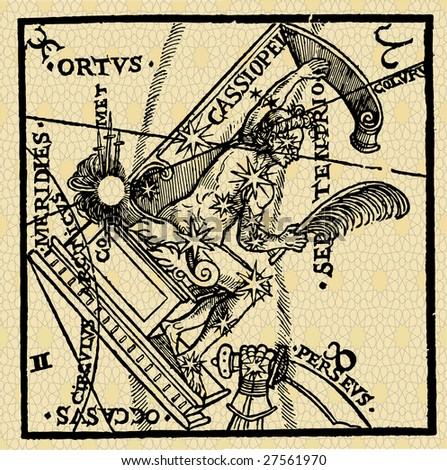 part of sky, astrological idea, vintage vector - stock vector