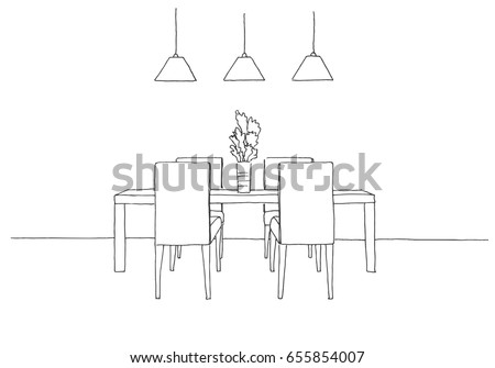 Table And Chairs.On The Table Vase Of Flowers