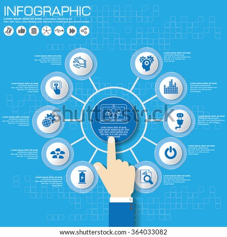 Part of the report with logo and icons set. Business concept with five options. Vector infographic of technology or education process. Web Template of a pyramidal chart, diagram or presentation.