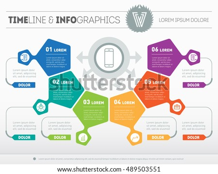 Part of the report with logo and icons set. Vector infographic of technology or education process. Business concept with six options. Web Template of a pyramidal chart, diagram or presentation.