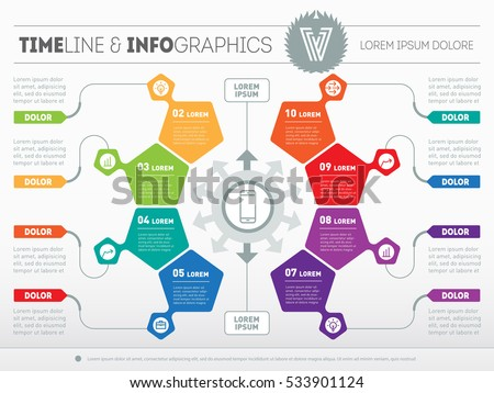 Part of the report with logo and icons set. Vector infographic of technology or education process. Business concept with eight options. Web Template of a circle infochart, diagram or presentation.