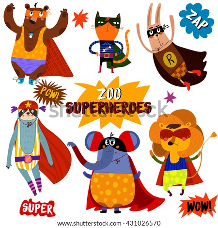 Shutterstock PART 1. Superhero animals. Awesome childish collection  in cartoon style with Comic Book Elements -stock vector