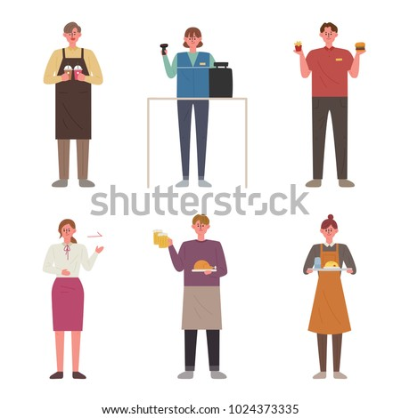 Part-time job that young people choose. hand drawing style vector illustration flat design