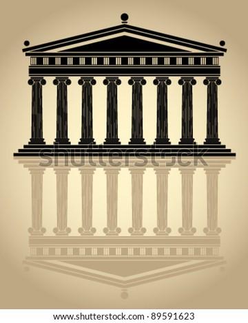 parthenon stylized vector icon.