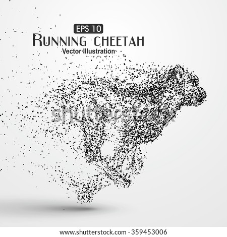 Particle cheetah, vector illustration.