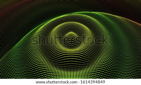 Particle dimension sound wave. Ripple effect from drip drop surface. Background grid structure. Big data flow calculation.