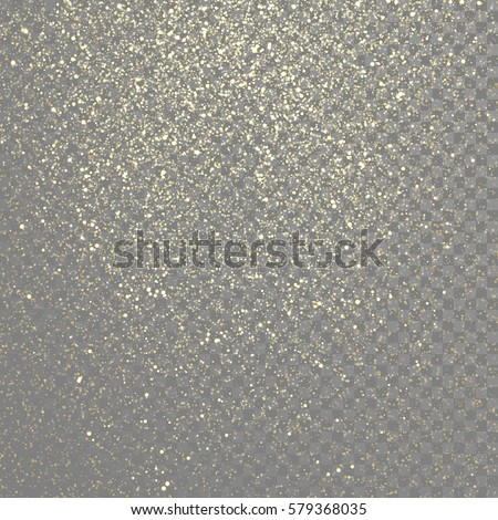 Particles glitter of gold glowing magic shine and star dust on vector transparent background.