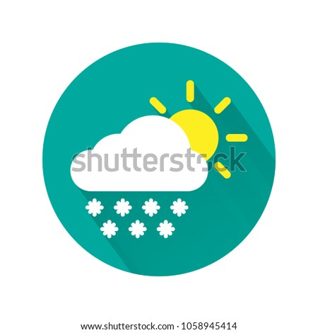 Partly cloudy with snow icon. Cloudy icon. Snowfall icon. Weather forecast.  Vector illustration