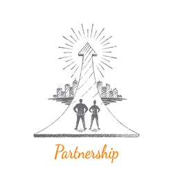 Partnership. A businessman and a businesswoman are standing on a big arrow. The arrow in the form of a springboard is directed to the city. Vector illustration, business concept, hand drawn sketch.