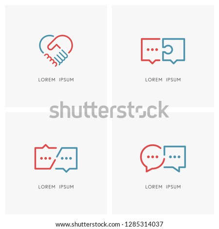 Partnership and conversation logo set. Business communication or chat symbol, hands make a deal and heart shape - dialogue and discussion, handshake, teamwork and cooperation vector icons.