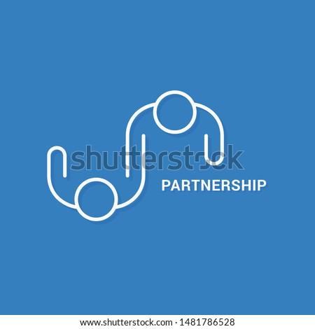 Partnership business logo. Linear banner of teamwork on blue background