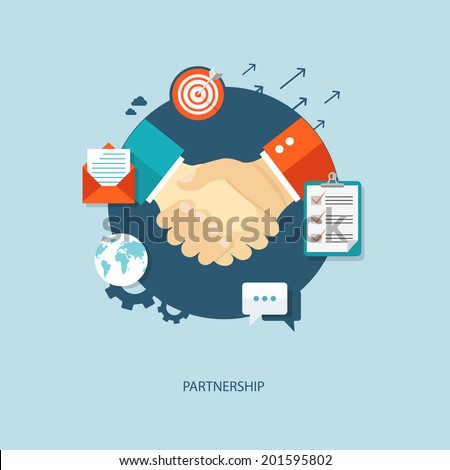 Partnership flat illustration with icons. eps10