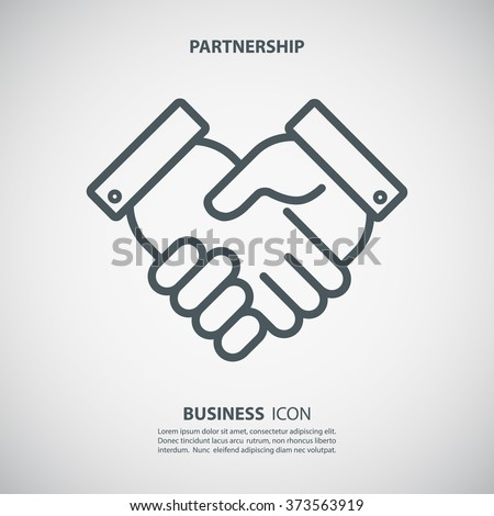 Partnership icon. Handshake icon. Teamwork and friendship. Business concept. Flat vector illustration.