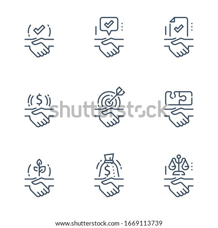 Partnership or mutual trust, handshake concept, negotiation compromise, conflict management, problem solving, deal or agreement, business entity or union, common ground, vector line icon