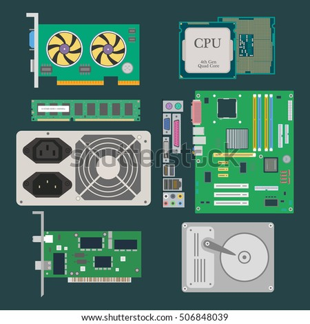 Parts of Computer. Video Card, CPU, HDD, RAM, Ethernet card, Power Supply on the dark green background. Vector illustration