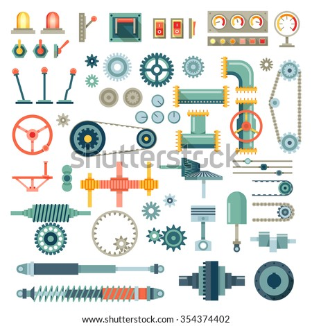 parts of machinery flat icons