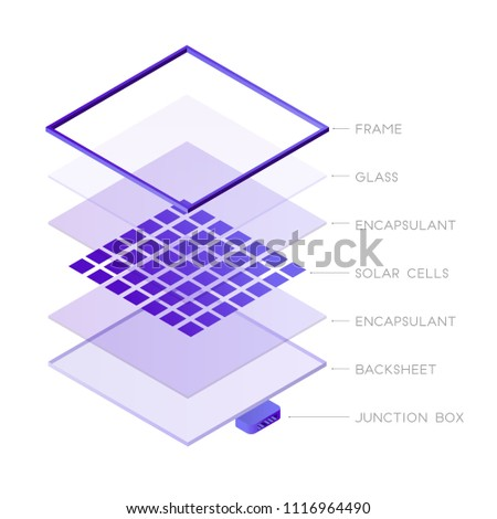Parts of solar panel photovoltaic system isometric design. Solar panel components 3D icon vector infographic element, illustration isolated on white background.