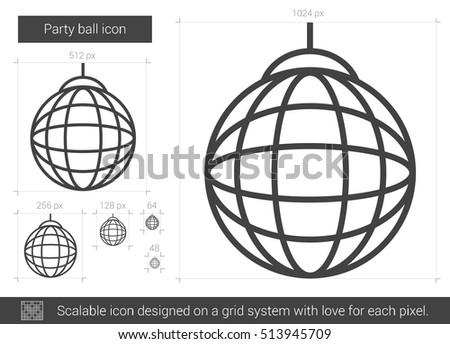 party ball vector line icon