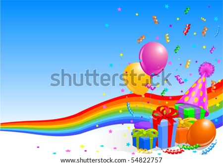 Party balloons and gifts background with rainbow ribbon