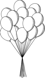 Party balloons illustration, sketch style.