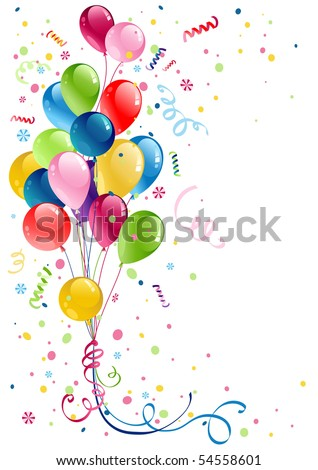 party balloons with space for text