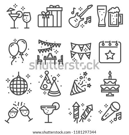 Party, Birthday, celebration line web icons set. Confetti, Cocktail, Guitar, Beer, Gift, Flag Balloon Firework Party Hat Disco Ball and more
